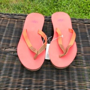 Pink and Orange Ugg Flip Flop with Tags